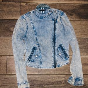 Forever 21 denim moto jacket